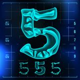 5 Number Vector. Five Roentgen X-ray Font Light Sign. Medical Radiology Neon Scan Effect. Alphabet. 3D Blue Light Digit. With Bone. Medical, Pirate, Futuristic Royalty Free Stock Image