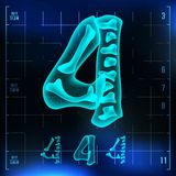 4 Number Vector. Four Roentgen X-ray Font Light Sign. Medical Radiology Neon Scan Effect. Alphabet. 3D Blue Light Digit. With Bone. Medical, Pirate, Futuristic Royalty Free Stock Photo