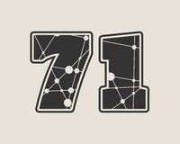 71 number vector illustration. Classic style Sport Team font. Numbers decorated by lines and dots pattern Stock Image
