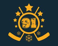 91 number vector illustration. Classic style Sport Team font. Numbers decorated by lines and dots pattern. Ice Hockey Emblem Stock Illustration