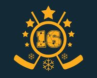 16 number vector illustration. Classic style Sport Team font. Numbers decorated by lines and dots pattern. Ice Hockey Emblem Royalty Free Stock Photos