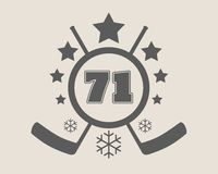 71 number vector illustration. Ice Hockey Emblem. 71 number vector illustration. Classic style Sport Team font. Ice Hockey Emblem Royalty Free Stock Photography
