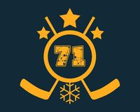 71 number vector illustration. Ice Hockey Emblem Stock Images