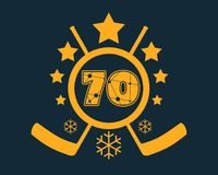 70 number vector illustration. Classic style Sport Team font. Numbers decorated by lines and dots pattern. Ice Hockey Emblem Vector Illustration