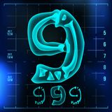 9 Number Vector. Nine Roentgen X-ray Font Light Sign. Medical Radiology Neon Scan Effect. Alphabet. 3D Blue Light Digit. With Bone. Medical, Pirate, Futuristic Royalty Free Stock Photo