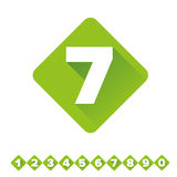 Number vector set green - flat design Stock Photo