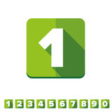 Number vector set green - flat design Royalty Free Stock Photography
