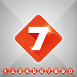 Number vector set orange - flat design Stock Images