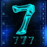 7 Number Vector. Seven Roentgen X-ray Font Light Sign. Medical Radiology Neon Scan Effect. Alphabet. 3D Blue Light Digit. With Bone. Medical, Pirate, Futuristic Stock Photography