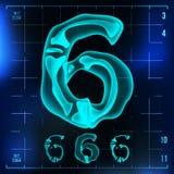 6 Number Vector. Six Roentgen X-ray Font Light Sign. Medical Radiology Neon Scan Effect. Alphabet. 3D Blue Light Digit. With Bone. Medical, Hospital, Futuristic Stock Photos