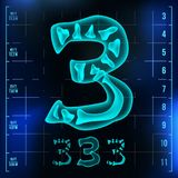 3 Number Vector. Three Roentgen X-ray Font Light Sign. Medical Radiology Neon Scan Effect. Alphabet. 3D Blue Light Digit. With Bone. Medical, Pirate, Futuristic Stock Images