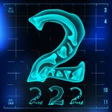 2 Number Vector. Two Roentgen X-ray Font Light Sign. Medical Radiology Neon Scan Effect. Alphabet. 3D Blue Light Digit. With Bone. Medical, Hospital, Futuristic Stock Image