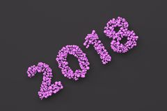 2018 number from violet balls on black background. 2018 new year sign. 3D rendering illustration Royalty Free Stock Photography