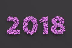 2018 number from violet balls on black background. 2018 new year sign. 3D rendering illustration Royalty Free Stock Photo