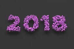 2018 number from violet balls on black background. 2018 new year sign. 3D rendering illustration Royalty Free Stock Image