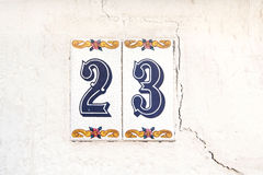 Number 23. On the wall Royalty Free Stock Photos