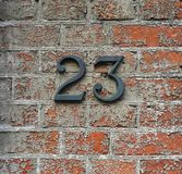 Number 23 on a wall stock photos