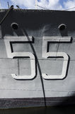 Number 55 on warship Royalty Free Stock Photography