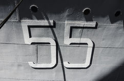 Number 55 on warship Stock Photography