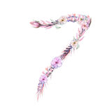 Number ``7`` of watercolor pink and purple flowers, hand drawn on a white background royalty free illustration