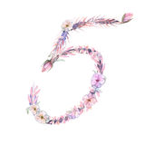 Number ``5`` of watercolor pink and purple flowers,  hand drawn on a white background Stock Image