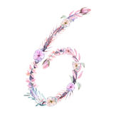 Number ``6`` of watercolor pink and purple flowers,  hand drawn on a white background Stock Photo
