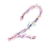 Number ``2`` of watercolor pink and purple flowers,  hand drawn on a white background Royalty Free Stock Images