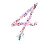 Number ``4`` of watercolor pink and purple flowers, isolated hand drawn on a white background Royalty Free Stock Image
