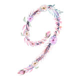 Number ``9`` of watercolor pink and purple flowers, isolated hand drawn on a white background Stock Images
