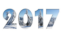 2017 number from winter mountains photo on white background. For calendar, flyer, poster, postcard etc. Winter colors Royalty Free Stock Images