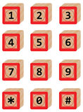 Number in Wood block. With whith background Royalty Free Stock Image