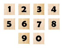 Number on wood isolated on white background Royalty Free Stock Images