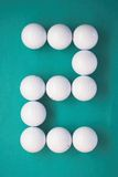 Number writen with Golf balls. Number two writen with Golf balls Royalty Free Stock Images