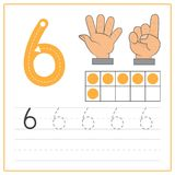 Number writing practice 6. Handwriting Number Worksheets for kids Stock Photos