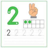 Number writing practice 2. Handwriting Number Worksheets for kids Stock Photo