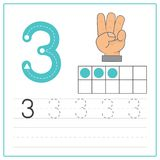 Number writing practice 3 Stock Photo