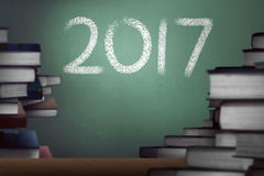 2017 number written on the chalk board Stock Image