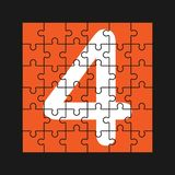 Number 4 is composed of pieces of color puzzles. Number 4 is written on the fragments of color puzzles royalty free illustration