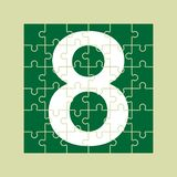 Number 8 is composed of pieces of color puzzles. Number 8 is written on the fragments of color puzzles stock illustration