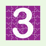 Number 3 is composed of pieces of colored puzzles. Number 3 is written on the fragments of color puzzles vector illustration