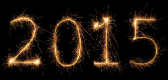 Number 2015 written with a sparkler Royalty Free Stock Images
