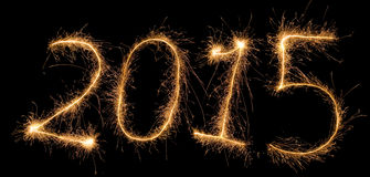 Number 2015 written with a sparkler Stock Photos