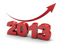 Number of year. 3d illustration of number year 2013 with red arrow up royalty free illustration