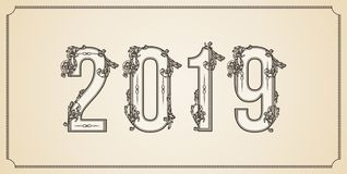 Number 2019 year patterned with floral shapes, isolated on white. 2019 for decorate calendar, banner, poster, invitation stock photo