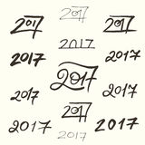 Number of the 2017 year. Set of handwriting numbers of 2017 year vector illustration