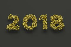 2018 number from yellow balls on black background. 2018 new year sign. 3D rendering illustration Royalty Free Stock Images