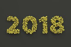 2018 number from yellow balls on black background. 2018 new year sign. 3D rendering illustration Royalty Free Stock Photography