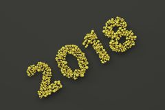 2018 number from yellow balls on black background. 2018 new year sign. 3D rendering illustration Stock Photo