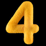 Number 4 from yellow felt Stock Photo