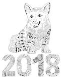 Number 2018 zentangle with dog. Vector decorative object. Hand-painted art design. Adult anti-stress coloring page. Black and white hand drawn illustration for Stock Image